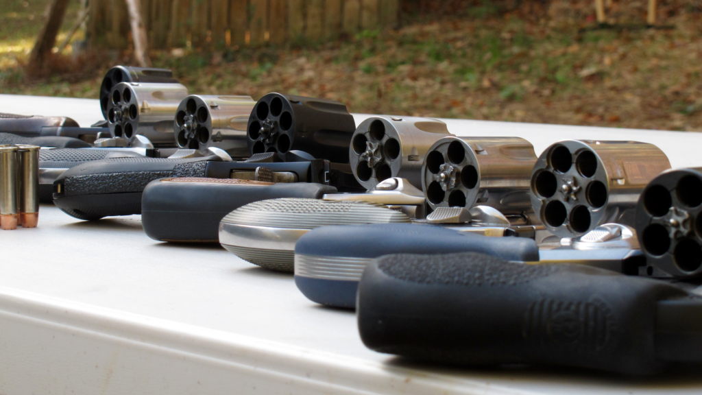 From right to left: Ruger LCR, Kimber K6S, S&W 640 Pro, Ruger SP101, S&W 327, S&W 66, S&W 686, S&W 28. And no, they're not all mine.